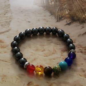 Jewelry - 🧘♂️NWT 7 Chakra Hematite stretch bracelet